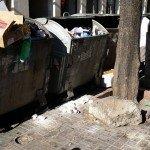 """Кофите за боклук на """"Солунска"""", в които вероятно има труп."""